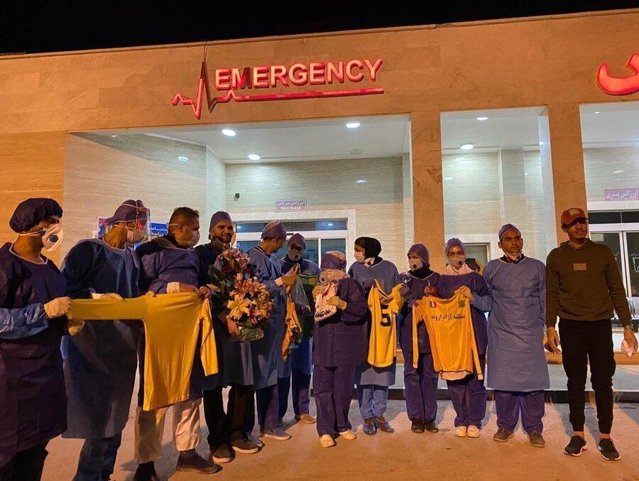 عکس ، تشکر مدافع پارس جم از پرستاران