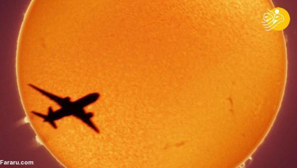 (عکس) ثبت عکس خارق العاده از عبور هواپیما از مقابل خورشید